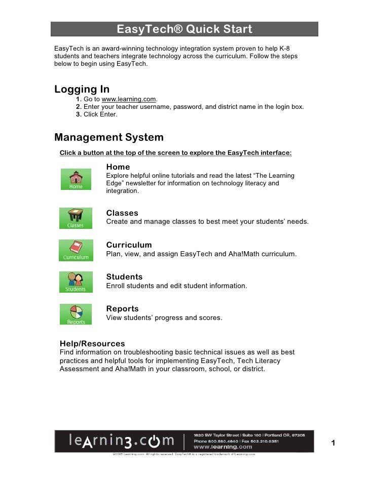 EasyTech® Quick Start EasyTech is an award-winning technology integration system proven to help K-8 students and teachers ...
