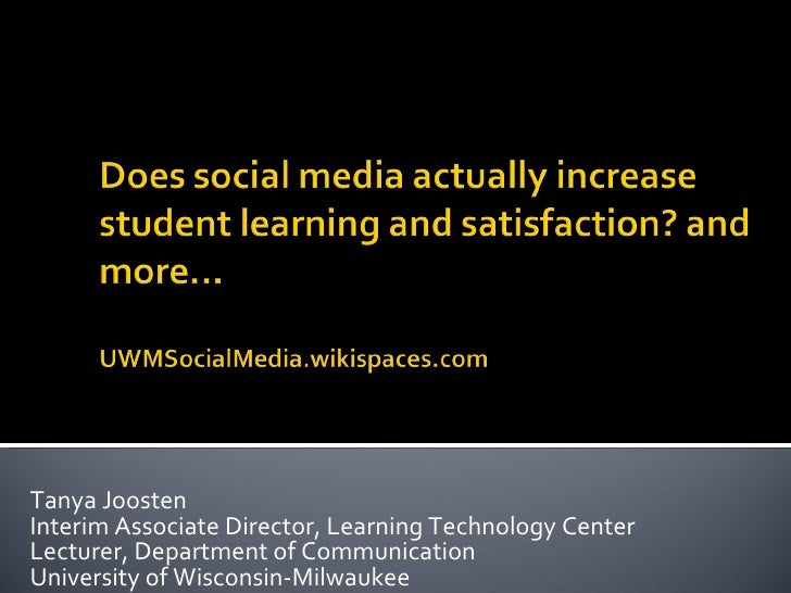 Tanya Joosten Interim Associate Director, Learning Technology Center Lecturer, Department of Communication  University of ...