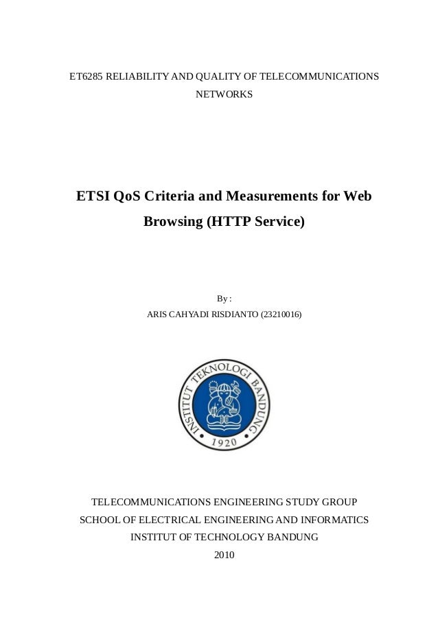 ETSI QoS Criteria and Measurements for Web Browsing (HTTP Service)
