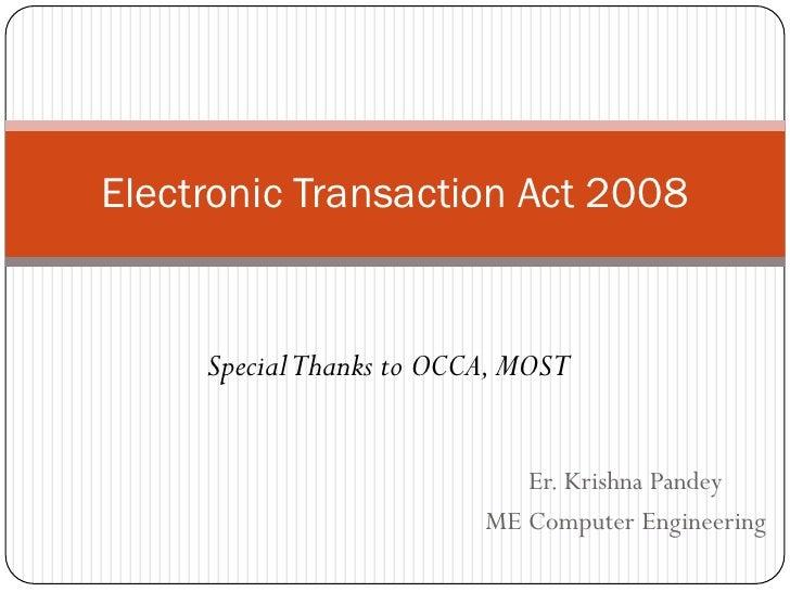 Electronic Transaction Act 2063 (ETA 2063)