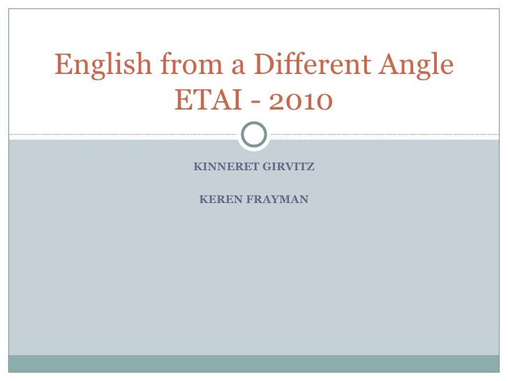 KINNERET GIRVITZ KEREN FRAYMAN English from a Different Angle ETAI - 2010