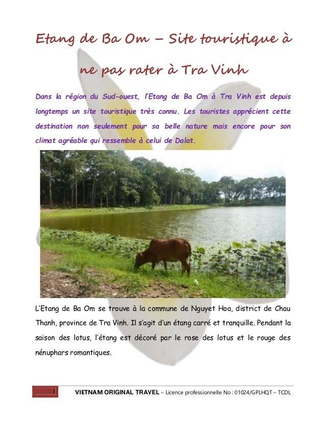 Etang de Ba Om – Site touristique à ne pas rater à Tra Vinh Dans la région du Sud-ouest, l'Etang de Ba Om à Tra Vinh est d...