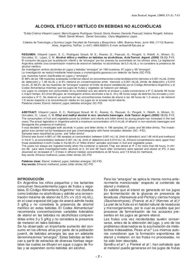 Acta Toxicol. Argent. (2005) 13 (1): 7-11  ALCOHOL ETÍLICO Y METÍLICO EN BEBIDAS NO ALCOHÓLICAS *Edda Cristina Villaamil L...