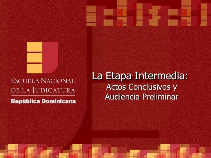 La Etapa Intermedia:  Actos Conclusivos y Audiencia Preliminar
