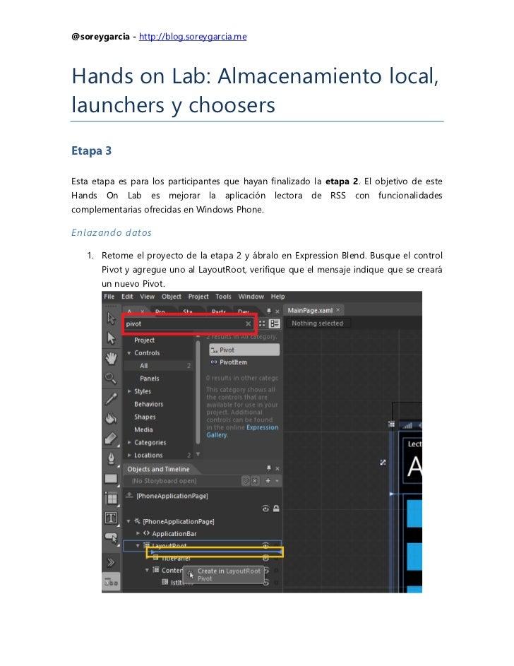 Hands on Lab: Almacenamiento local con base de datos, launchers y choosers