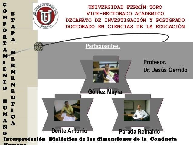 UNIVERSIDAD FERMÍN TORO VICE-RECTORADO ACADÉMICO DECANATO DE INVESTIGACIÓN Y POSTGRADO DOCTORADO EN CIENCIAS DE LA EDUCACI...