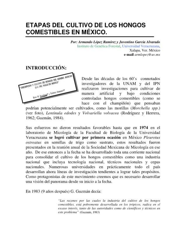 Etapas del desarrollo histórico del cultivo de hongos comestibles en México