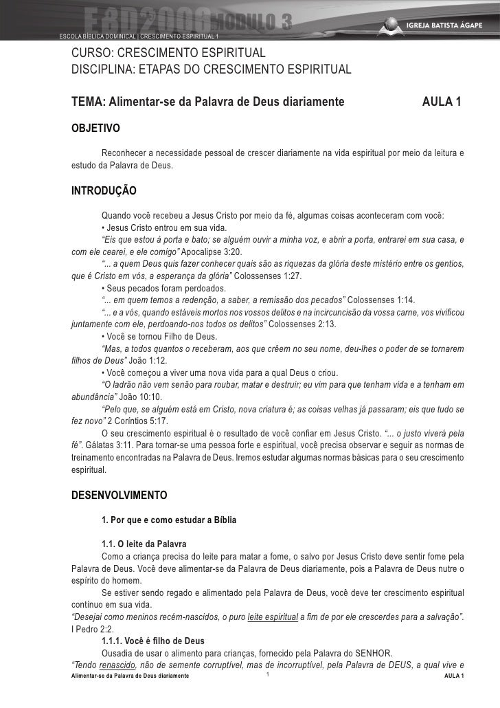 ESCOLA BÍBLICA DOMINICAL | CRESCIMENTO ESPIRITUAL 1     CURSO: CRESCIMENTO ESPIRITUAL    DISCIPLINA: ETAPAS DO CRESCIMENTO...