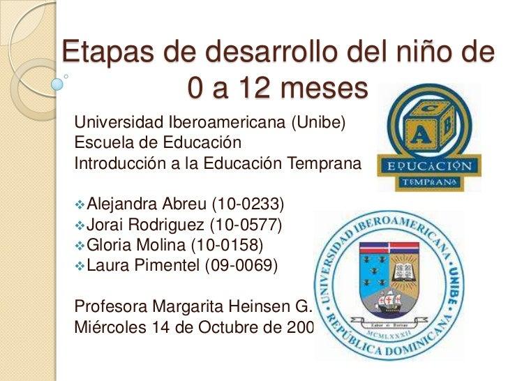 Etapas de desarrollo del niño de      0 a 12 meses<br />Universidad Iberoamericana (Unibe)<br />Escuela de Educación<br />...