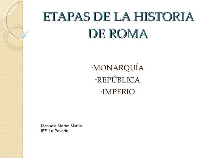 ETAPAS DE LA HISTORIA DE ROMA <ul><li>MONARQUÍA </li></ul><ul><li>REPÚBLICA </li></ul><ul><li>IMPERIO </li></ul>Manuela Ma...