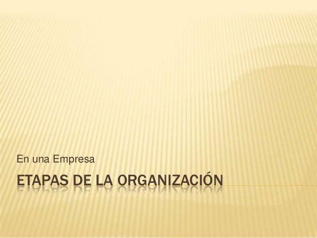 ETAPAS DE LA ORGANIZACIÓN En una Empresa