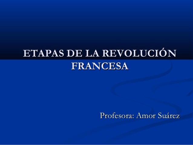 ETAPAS DE LA REVOLUCIÓN        FRANCESA           Profesora: Amor Suárez