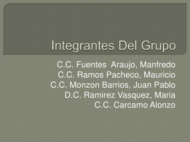 Integrantes Del Grupo<br /> C.C. Fuentes  Araujo, Manfredo<br />C.C. Ramos Pacheco, Mauricio      <br />C.C. Monzon Barrio...