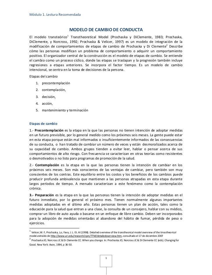 Módulo 1. Lectura Recomendada                                    MODELO DE CAMBIO DE CONDUCTAEl modelo transteórico 1 Tran...