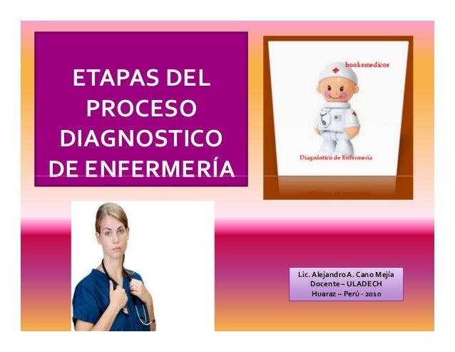 ETAPAS DEL PROCESO DIAGNOSTICO DE ENFERMERÍADE ENFERMERÍA Lic.AlejandroA. Cano Mejía Docente – ULADECH Huaraz – Perú - 2010
