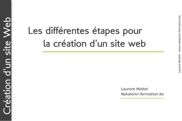 Laurent Mottet - www.nakatomi-formation.beCréation d'un site Web                         Les différentes étapes pour      ...