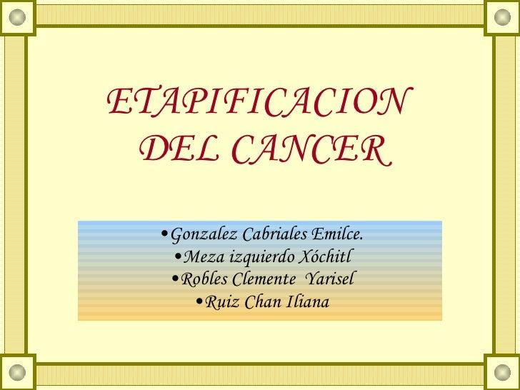 ETAPIFICACION  DEL CANCER <ul><li>Gonzalez Cabriales Emilce. </li></ul><ul><li>Meza izquierdo Xóchitl </li></ul><ul><li>Ro...