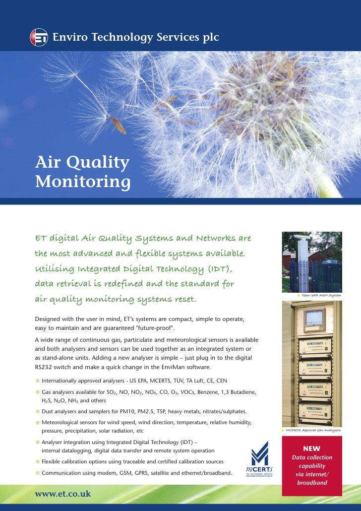 Enviro Technology Services plc     Air Quality Monitoring   ET digital Air Quality Systems and Networks are the most advan...