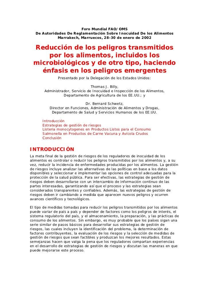 Foro Mundial FAO/OMS   De Autoridades De Reglamentación Sobre Inocuidad De los Alimentos             Marrakech, Marruecos,...
