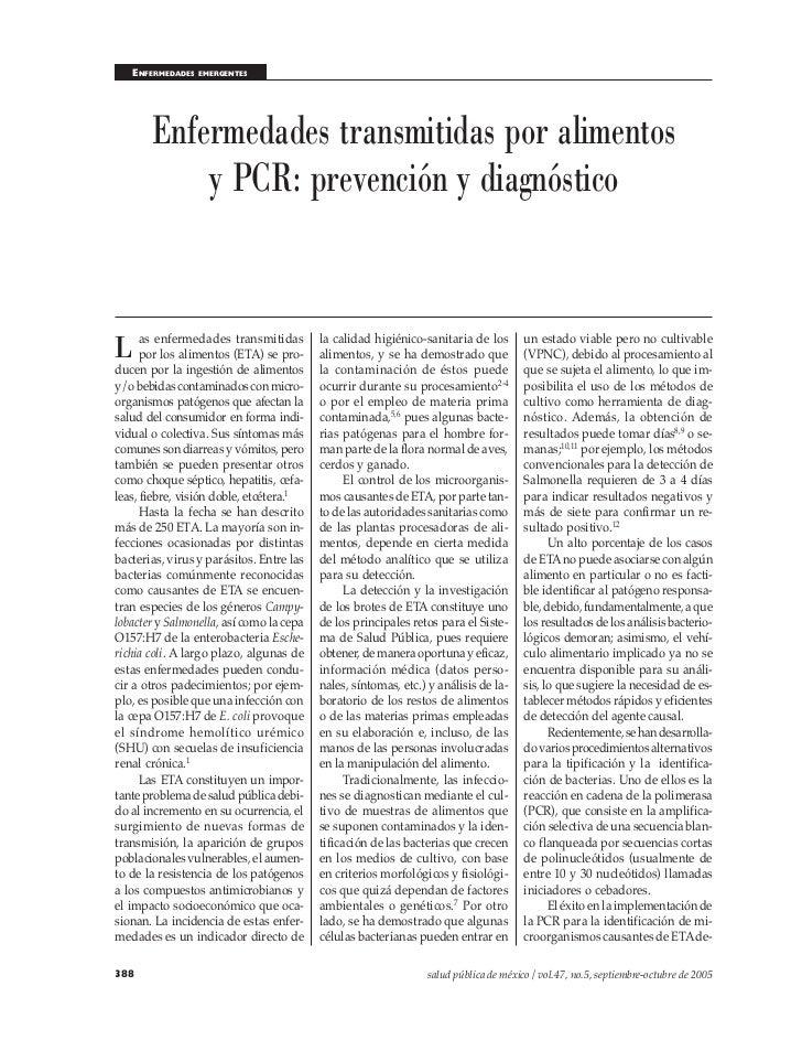 ENFERMEDADES   EMERGENTES       Enfermedades transmitidas por alimentos           y PCR: prevención y diagnósticoL as enfe...