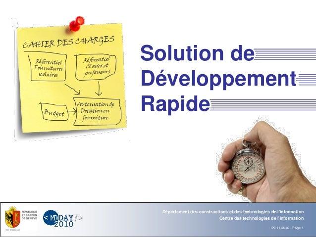 Département Office 29.11.2010 - Page 1 Centre des technologies de l'information Département des constructions et des techn...