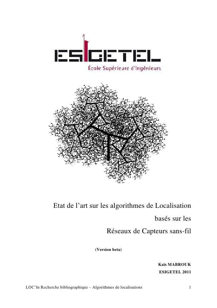 """Etat de l""""art sur les algorithmes de Localisation                                                                  basés s..."""
