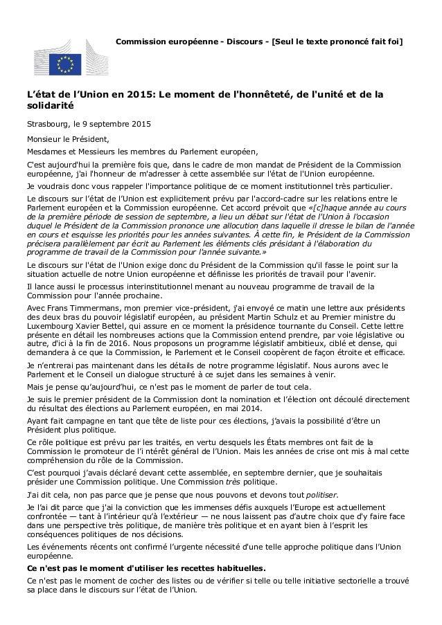 L'état de l'Union en 2015: Le moment de l'honnêteté, de l'unité et de la solidarité Strasbourg, le 9 septembre 2015 Commis...