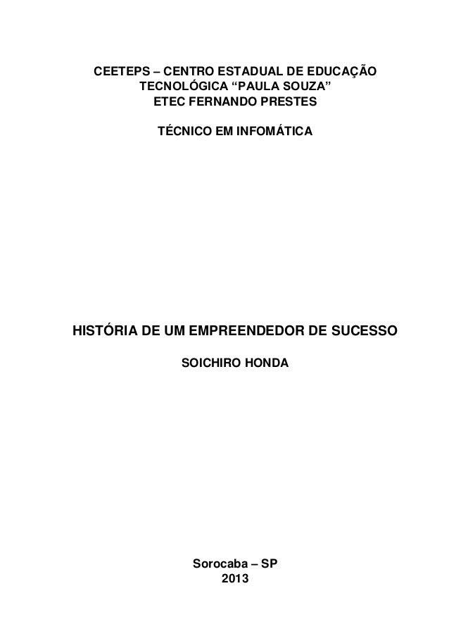 """CEETEPS – CENTRO ESTADUAL DE EDUCAÇÃO TECNOLÓGICA """"PAULA SOUZA"""" ETEC FERNANDO PRESTES TÉCNICO EM INFOMÁTICA  HISTÓRIA DE U..."""