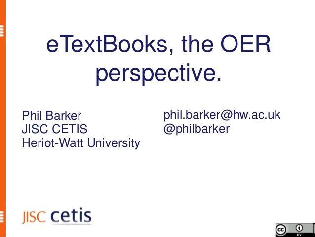 eTextBooks, the OER perspective