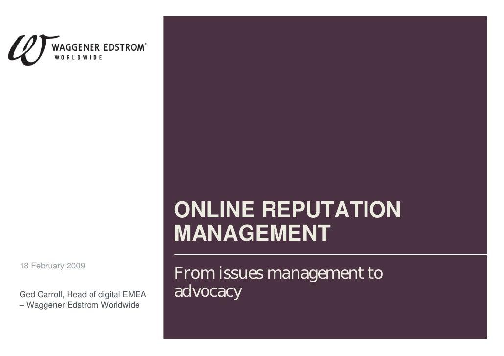 Online Reputation Management Etourism forum