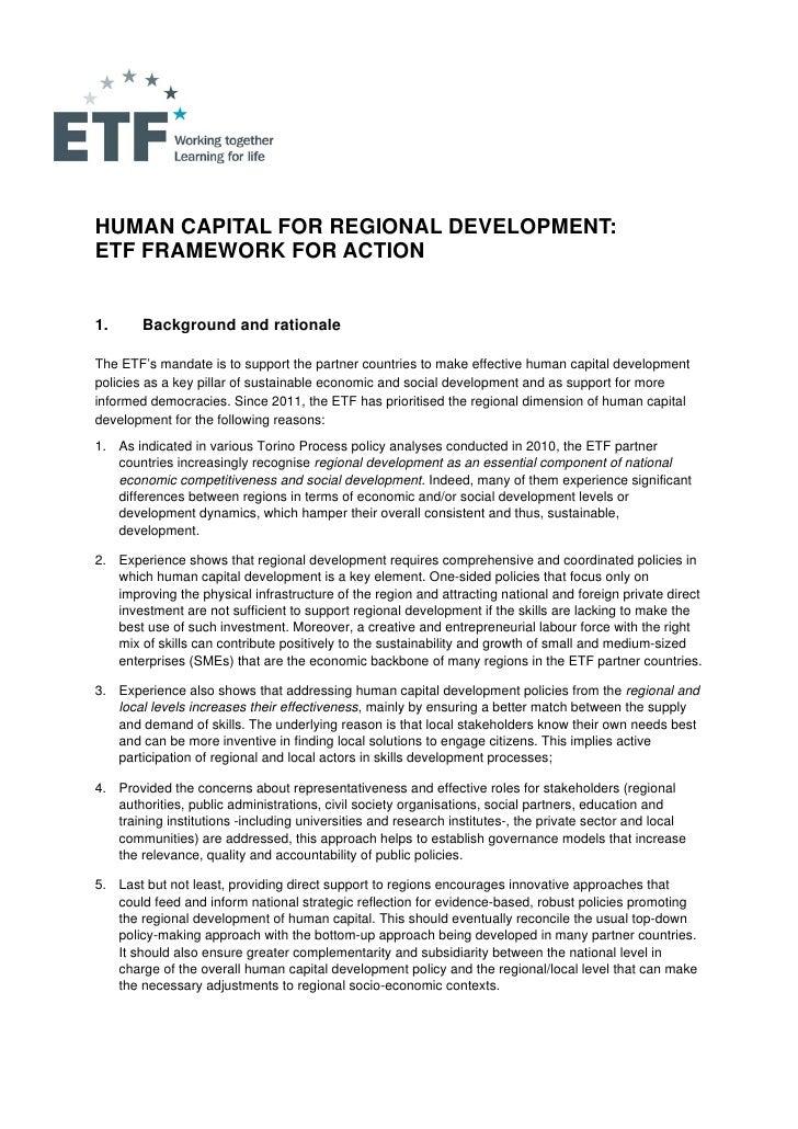 Human Capital for Regional Development: ETF Framework for Action EN