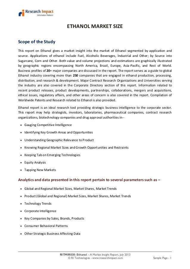 RITMIR038: Ethanol – A Market Insight Report, July 2013 © RI Technologies - www.researchimpact.com Sample Page - 1 ETHANOL...
