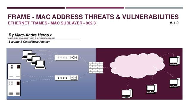 FRAME - MAC ADDRESS THREATS & VULNERABILITIES ETHERNET FRAMES - MAC SUBLAYER - 802.3 By Marc-Andre Heroux CGEIT, CISA, CRM...