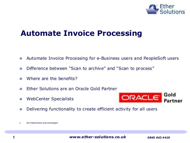 "Automate Invoice Processing for e-Business users and PeopleSoft users Difference between ""Scan to archive"" and ""Scan to pr..."
