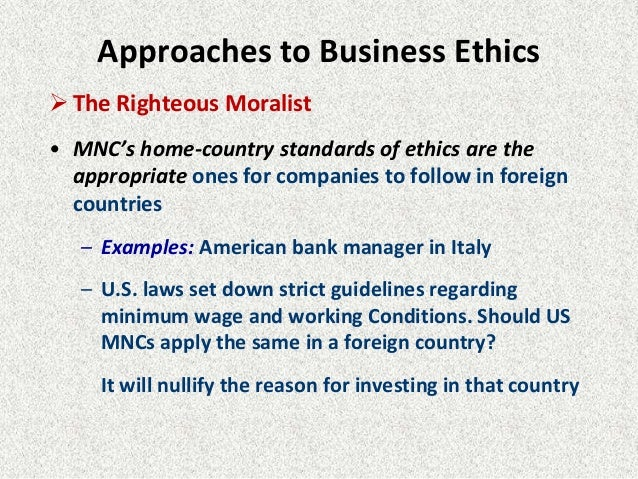varying global ethical standards in business essay According to the national business ethics survey of for employees by developing written standards of ethical workplace shrm global shrm global.