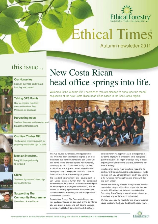 Ethical Times tm Autumn newsletter 2011 this issue... Our Nurseries See how our trees start life and how they are planted ...