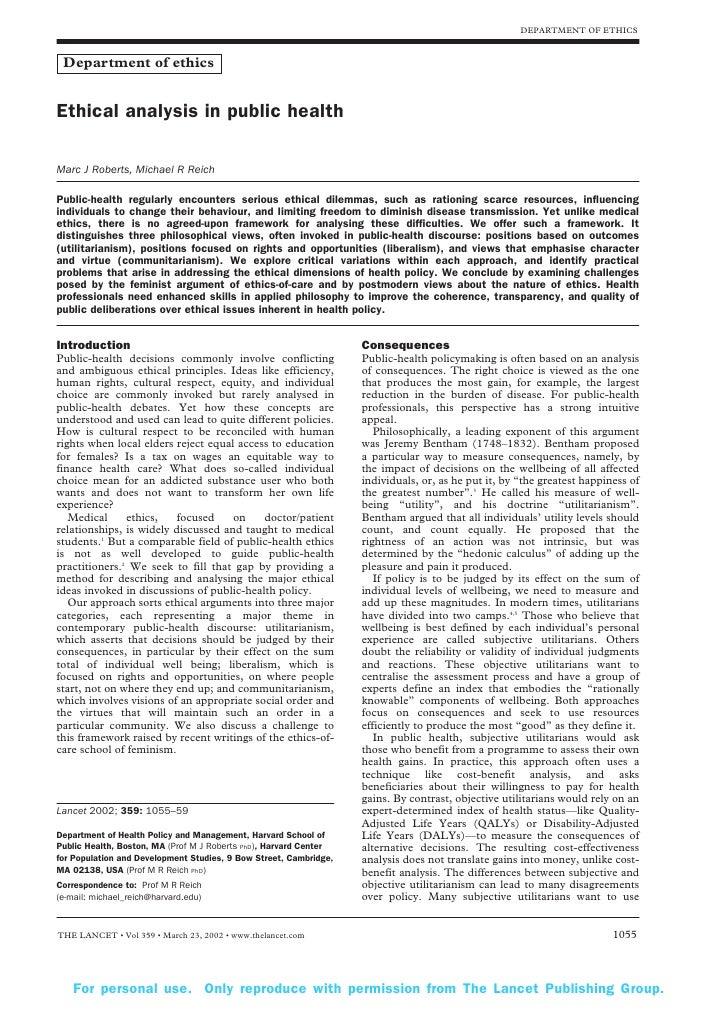 DEPARTMENT OF ETHICS    Department of ethics   Ethical analysis in public health  Marc J Roberts, Michael R Reich  Public-...