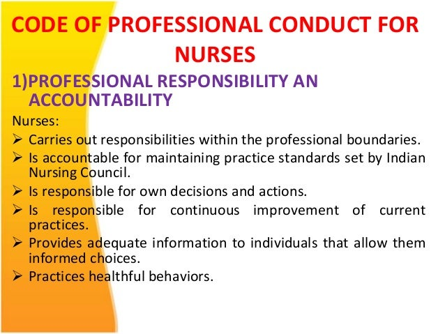 examples for accountability and responsability in nursing Professor and associate dean for academic programs, university of minnesota school of nursing.