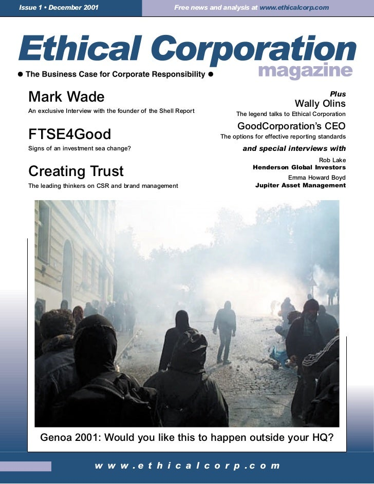 Ethical corporation Issue One, December 2001