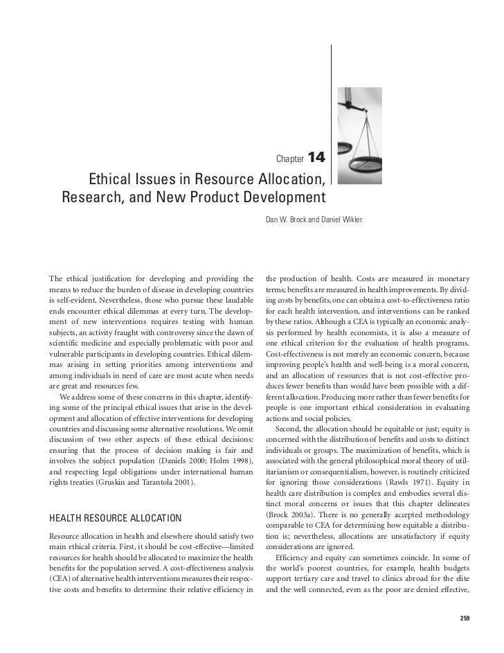Ethical issues in resource allocation