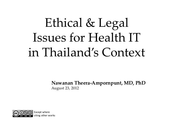 Ethical & Legal  Issues for Health IT in Thailand's Context               Nawanan Theera‐Ampornpunt, MD, PhD              ...