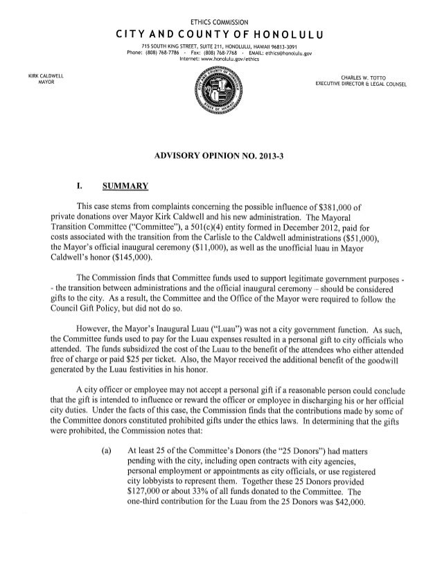 Honolulu Ethics Commission opinion