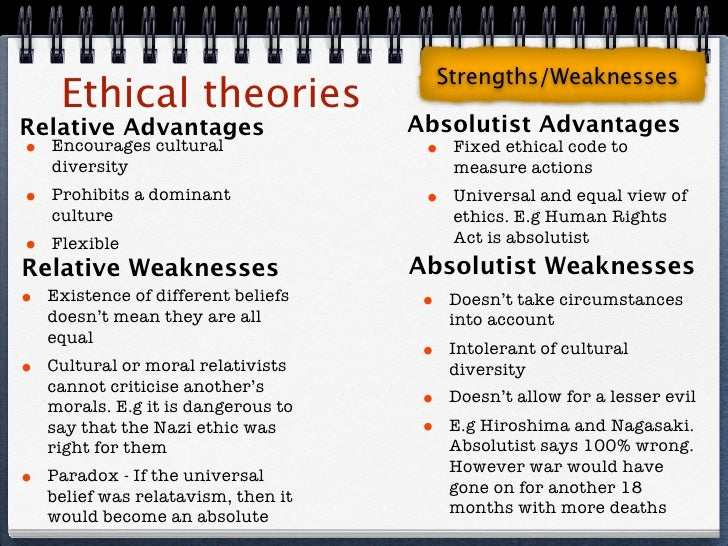 compare and contrast absolute and relative ethics Ethics are relative, based on a persons judgment morals are absolute, based on god's judgment.