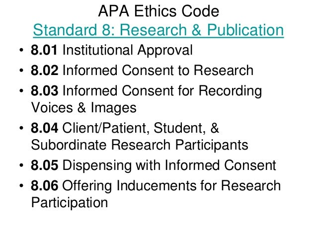 apa guide code of ethics