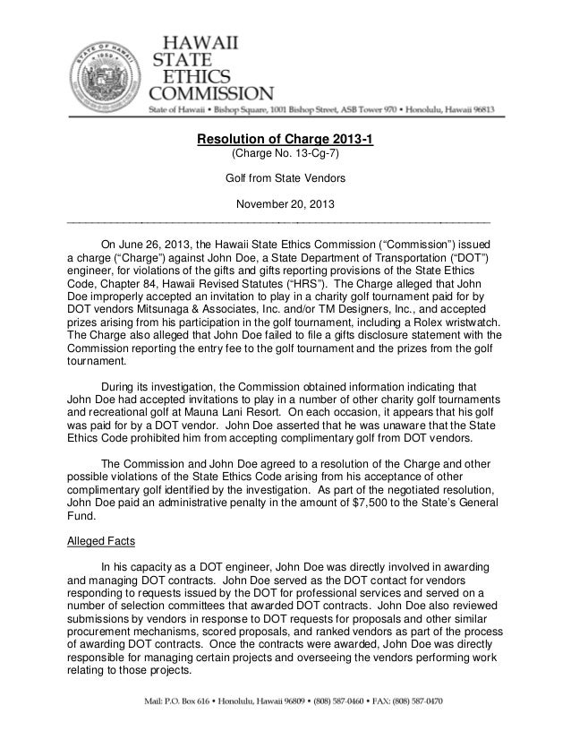 Resolution of Charge 2013-1 (Charge No. 13-Cg-7) Golf from State Vendors November 20, 2013 _________________________...