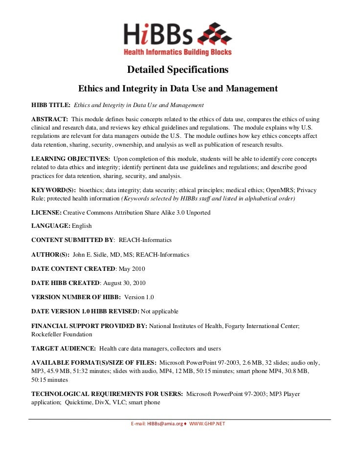 Ethics and Integrity in Data Use and Management Detailed Specifications