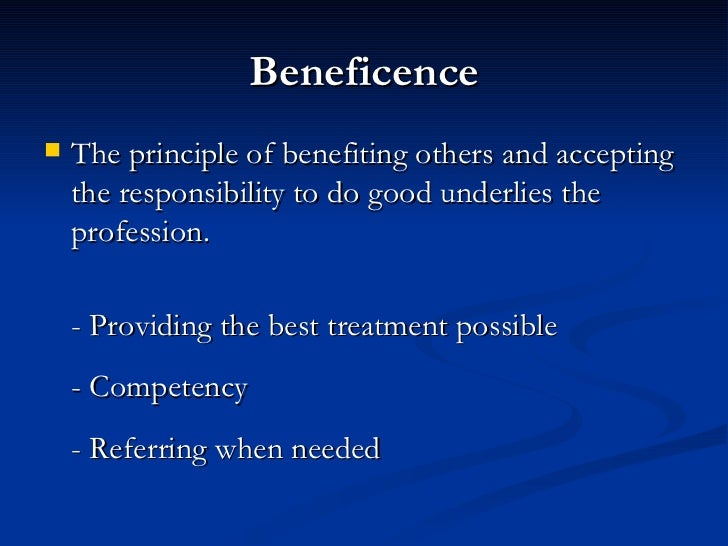 principle of nonmaleficence in counseling Counseling – the nonmaleficence this principle expresses the concept that professionals have a duty to act for the benefit of others.