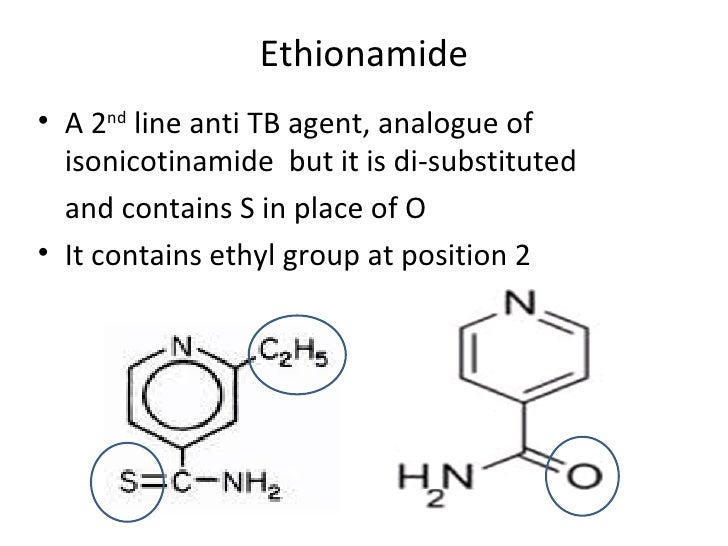 Ethionamide• A 2nd line anti TB agent, analogue of  isonicotinamide but it is di-substituted  and contains S in place of O...