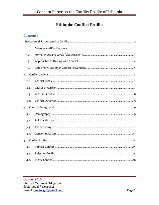 Concept Paper on the Conflict Profile of Ethiopia                                           Ethiopia: Conflict ProfileCont...