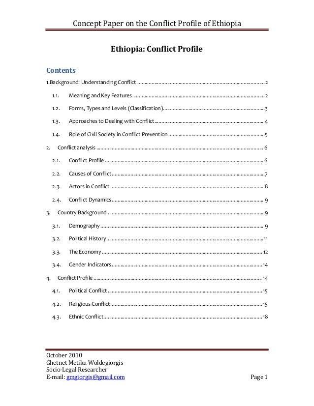 Ethiopia conflict profile october 2010